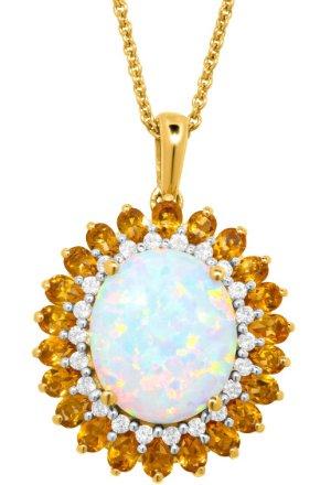 $29包邮!Dealmoon独家蛋白石,黄水晶和白色蓝宝石精致吊坠