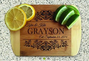$12Personalized Cutting Bar Board 6x8 (Rounded Edge) Bamboo