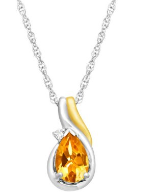 $293/4 ct Citrine Pendant with Diamond