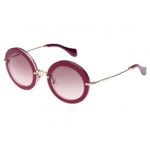 $80Miu Miu Round Sunglasses Cyclamen Glitter MU 13NS