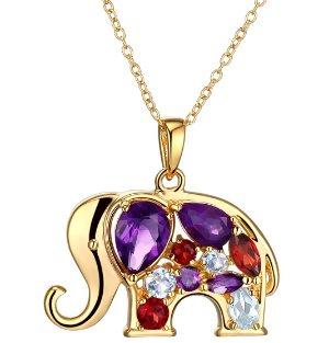 $29Amethyst, Garnet & Topaz Elephant Pendant