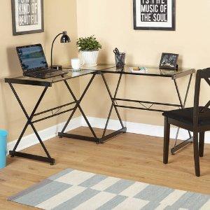 $69Atrium Metal and Glass L-shaped Computer Desk, Multiple Colors