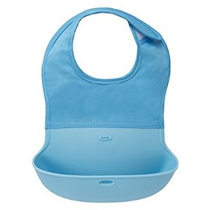$6.99OXO Tot Waterproof Silicone Roll Up Bib with Comfort-Fit Fabric Neck