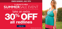 Summer Sale!Extra 30% OFF on All Red Lines at Destination Maternity