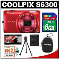 $69.95Nikon Coolpix S6300 Digital Camera (Red) - Factory Refurbished with 8GB Card + Case + Tripod + Accessory Kit