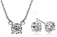 $11.99Solitaire Brilliant-Cut CZ Necklace and Earring Set in 18K White Gold Finish