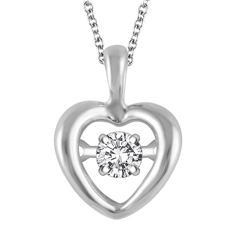 $129Silver Heart Pendant with Dazzling Brilliant Cut Round Diamond @ Kevin Jewelers Inc.