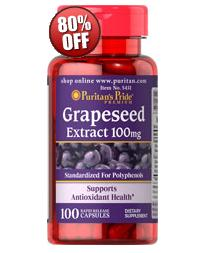 6 for $18.98Puritan's Pride Grapeseed Extract 100 mg 100 Capsules