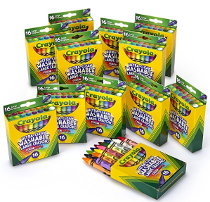 $13Crayola Ultra-Clean Washable Large Crayons, Bulk Set, 12 Packs of 16 Count