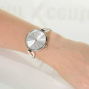 $49CALVIN KLEIN Selection Silver Dial White Leather Ladies Watch K3V231L6
