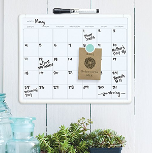 $5U Brands Contempo Magnetic Monthly Calendar Dry Erase Board, 11 x 14 Inches, White Frame