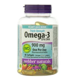 $13.67孝敬长辈好礼:Webber Naturals Omega-3三倍强效深海鱼油软胶囊80粒