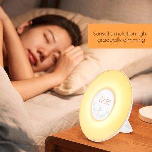 as low as $18.32INLIFE Wake Up Light Alarm Clock Sunrise Simulation Dusk Fading Night Light with Nature Sounds, FM Radio