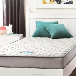 低至55折限今天:LINENSPA 6吋 弹簧床垫 + MALOUF 7 脚支撑可调宽度可滚动床架促销