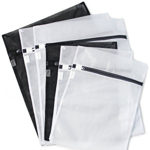 $5 6 Pack (3 Medium & 3 Large) - HOPDAY Delicates Mesh Laundry Bag, Bra Lingerie Drying Wash Bag ( Black & White) with Zipper