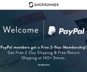 注册就可享受PayPal 用户可以免费成为 1年 ShopRunner 会员