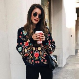 $30Oversized Floral Embroidered Sweater