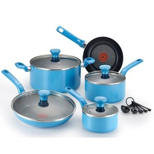 $45.99T-fal C969SE Excite Nonstick Thermo-Spot Dishwasher Safe Oven Safe PFOA Free Cookware Set, 14-Piece, Blue