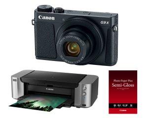 $319Canon PowerShot G9 X Mark II 20.1MP Digital Camera (Black) With Pixma Pro-100 Printer And Paper