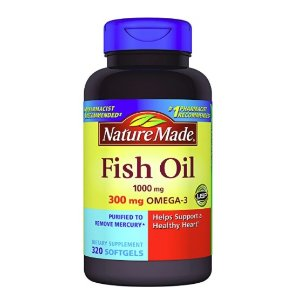 $11.19 Nature Made Fish Oil 1000 mg w. Omega-3 300 mg, 320 Softgels