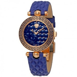 $395 VERSACE  Micro Vanitas Blue Dial Ladies Leather Watch VQM09 0016