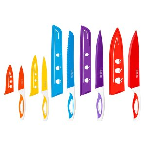 $7Ebaco 10 Piece Colorful Knife Set - 5 Kitchen Knives with 5 Knife Sheath Covers - Chef Knife Sets with Carving Serrated Utility Chef's and Paring Knives - Colored Knife Set with Matching Color Case